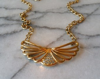 Vintage Gold Necklace and Attached Angel Wings Pendant with Rhinestones