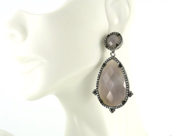 Sterling Silver and Moonstone Earrings Accented with CZ Stones