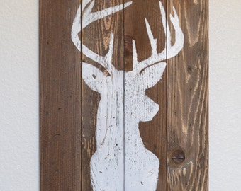 Buck Silhouette on Stained Wood