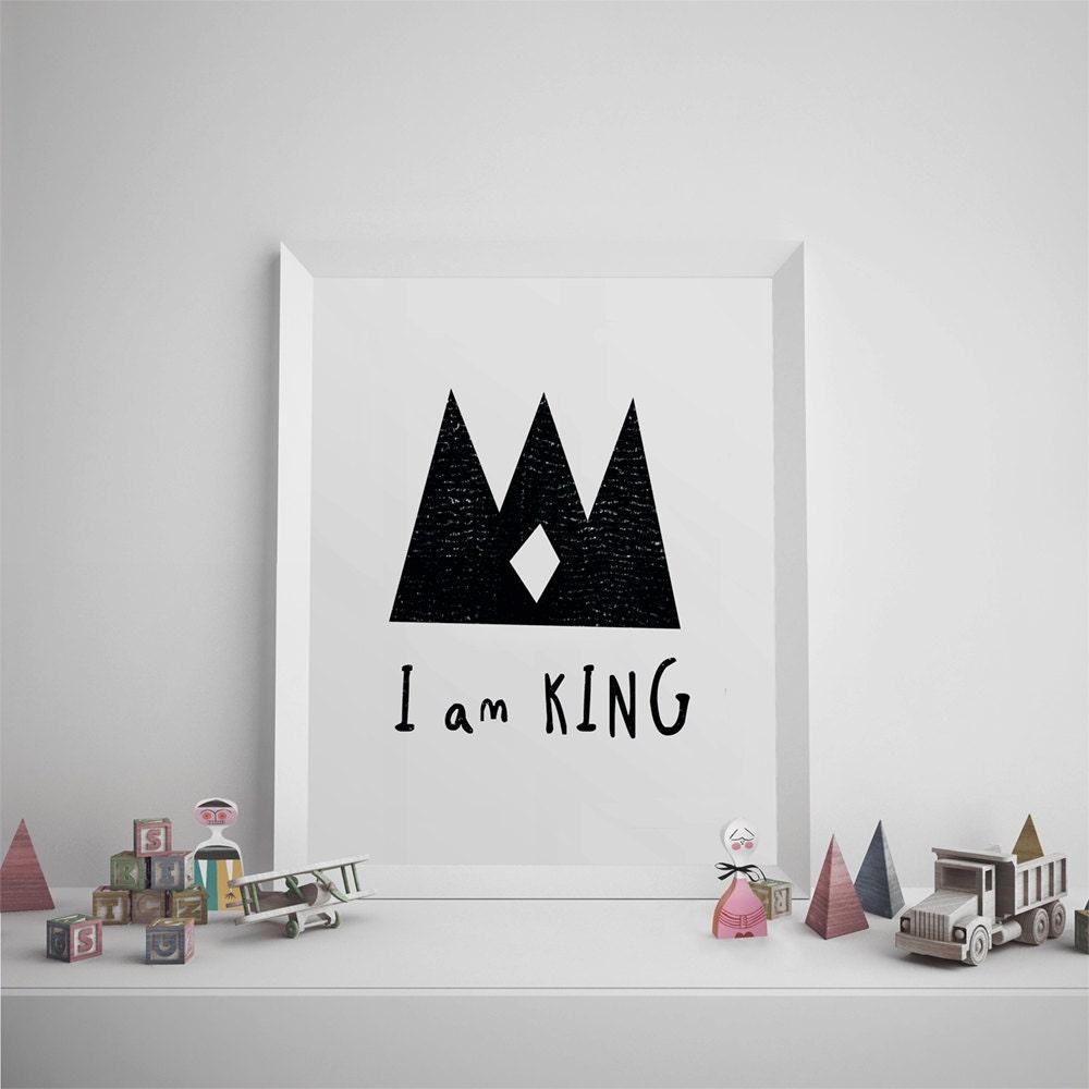 nursery art print printable art for kids i am king quote