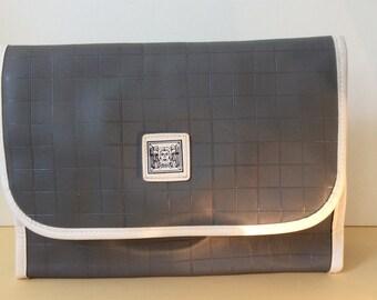 Cosmetic bag, vintage,Erno Laszlo, grey with logo,zip closure.zip inside pocket