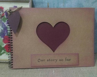 Rustic vintage style Kraft and burgundy card scrapbook memory album 'Our story so far'