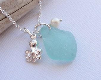 Scottish Sea Glass & Sterling Silver Octopus Necklace ~ Aqua ~Sea Glass from Scotland