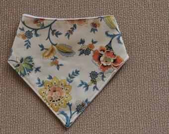 "Bandana bib, spring flowers, ""Gaslight"" cotton print upper, plain white minky backing, Australian handmade"