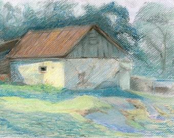 Old barn (Original pastel drawing)