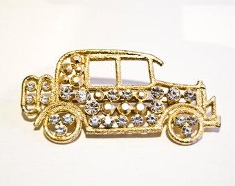 Signed M Jent Rhinestone Car Brooch - Vintage Pin - Gold Tone Automobile
