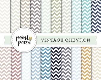 Chevron Digital Paper, Vintage Retro Pastel Chevron Backgrounds, Zig Zag, Scrapbooking, Crafts, Instant Download