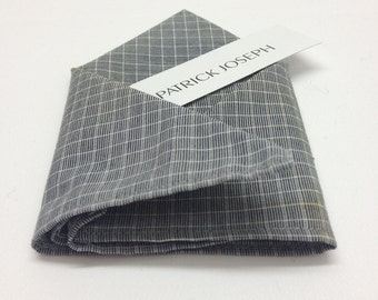 Grey Pinstripe Unlined Pocket Square