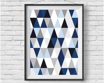 Navy Print, Geometric Art, Scandinavian Print, Abstract Poster, Navy Blue Home Decor, Triangle Art, Modern Print, Navy Printable Art