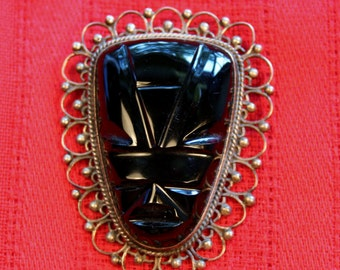 Vintage Mexican Sterling Silver Carved Onyx Aztec Mayan Mask Brooch Pin Circa 1950