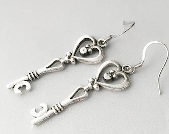 Long Heart Earrings For Women - Long Silver Heart Earrings, Long Earrings Silver - Silver Dangle Earrings  - Dangle Earrings Silver