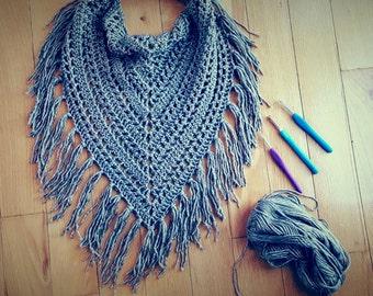 Scarf PATTERN, Fringed Scarf, Bandana, Cowl, Lightweight, Crochet Scarf, Knit Scarf