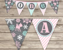 Winter Onederland Banner Snowflake Little Dear ONEderland mint High Chair Highchair Banner pink forest dear Rustic woodland Party Theme