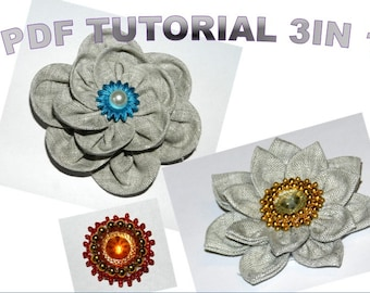 Fabric Flower PDF tutorial, Linen flowers and middle decoration, extra bonus - how to make flower brooch back (fastener), 3 tutorials, DIY