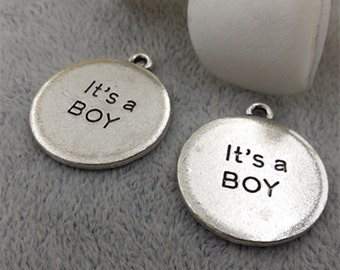 10pcs 22mm antique silver letters charm pendants It's a boy charm pendants MF1585