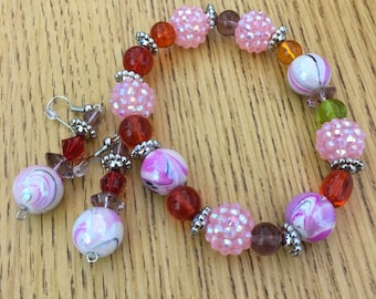 Girly Colorful Beaded Jewelry Set