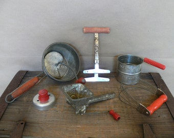 Red Handled Kitchen Utensils/Gadgets, 6 Pieces Vintage 1940's and 50's, Sifter, Pastry Blender, 2 Food Mills, Chopper, Biscuit Cutter