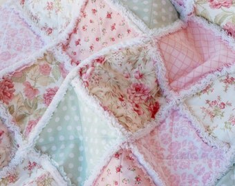 Rag Quilt, Baby Girl, Made to Order, 36 x 36, Shabby Chic, Cottage Style, Pink, Green, Peach, White, Baby Girl Quilt