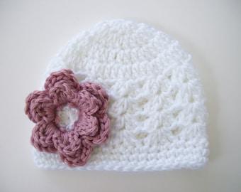 Toddler Girl Hat, Crochet Baby Hat, Baby Girl Hat, Crochet Toddler Hat, Newborn Hat, White Hat, Baby Shower Gift, Baby Hat, Photo Prop