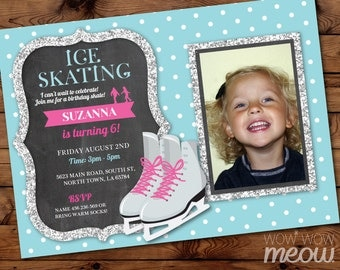 Ice Skating Invitation Photo Skate Birthday Party INSTANT DOWNLOAD Silver Glitter Invite Ice Girls Any Age Personalise Editable Printable