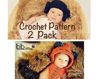 Ewok Hood and Princess Leia Beanie Star Wars - PATTERN ONLY - Crochet - Sizes: Newborn to Adult