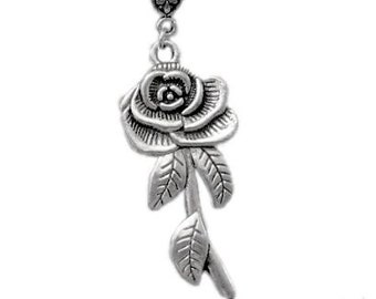 Flower Necklace, Rose Necklace, Antique Silver Rose Necklace, Rose Pendant Charm, Rose Jewellery,  Rose Jewellery, Rose Jewelery, UK
