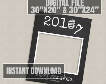 New Years Printable 2017 Chalkboard Photo Booth Frame digital download, 30x24, 2017 new year selfie, diy photobooth new years celebration