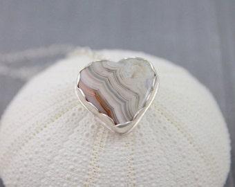 Valentine heart necklace crazy lace agate necklace pendant heart necklace sterling silver necklace statement necklace gemstone necklace NE51