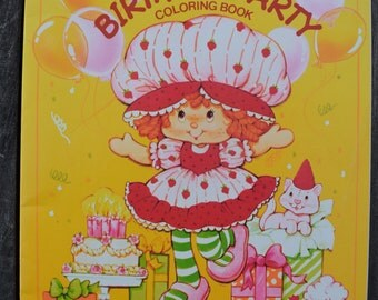 Vintage 1984 Strawberry Shortcake Birthday Party Coloring Book Unused 80s Kenner Toy Doll Activity Book