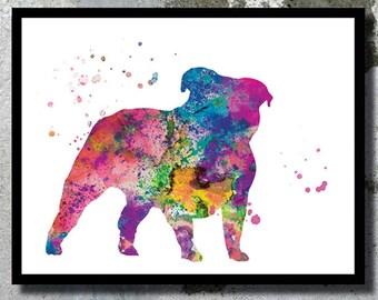 Englische Bulldogge Aquarell Kunstdruck Hund Malerei Plakatkunst Zimmer Mdchen Jungen Kindergarten