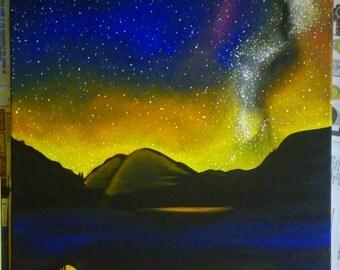 original acrylic night sky reflection painting