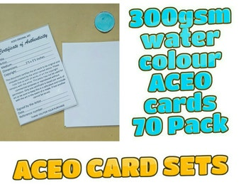 ACEO Blank Cards - 70 cards with Certificates and plastic sleeves complete set