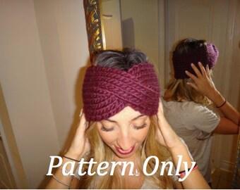 Women's Chunky Knit Turban Headband, **PATTERN ONLY**