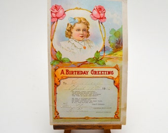 1916 Birthday Card, Antique Ephemera, Birthday Greeting from Sunday School, David C. Cook Publishing