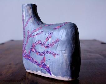 Flask Vase - Flint grey vase with low-water mark seaweed illustration in cobalt blue, puple and crimson