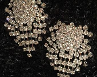 Vintage Kenneth J. Lane Pave/Rhinestone Chandelier Post Earrings