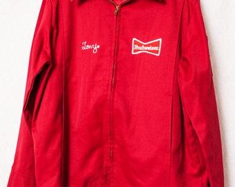 Vintage Budweiser Delivery Man Uniform, Budweiser Jacket, USA Made Size 42 Large, Red Budweiser Embroidered Jacket, TONY Budweiser Jacket