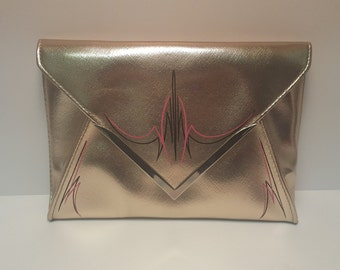 Hand Pinstriped Clutch Bag
