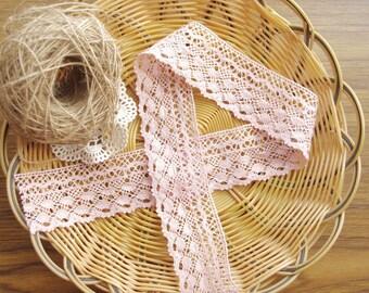 Lovely Heavy Pink Cotton Lace Trim 4.6CM Width
