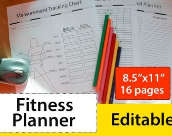 Fitness planner - Fitness journal - Weight loss planner - 8.5x11 - Editable Planner - Instant Download