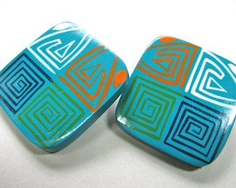 Wood earrings, painted wood, post earrings, 1 and 3/8 inch square -  826