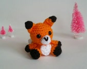 Fox Crochet Toy, Mini Amigurumi Fox, Kawaii Fox, Miniature Fox Plush, Plushie Fox, Forest Nursery Theme, Chibi Fox Toy Ready to Ship