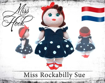 "Haakpatroon voor de pop ""Miss Rockabilly Sue"" eBook PDF (dutch)"