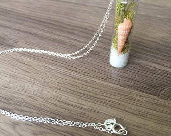 Moss and Shell Vial Necklace