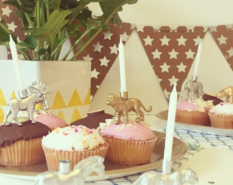 Safari - Party Animal Party Cake Candle Holder - Available in 8 colours! Perfect for Parties / Birthdays / Hen Parties / Weddings