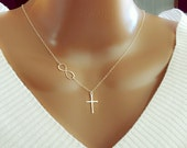 Infinity Cross necklace - Sterling Silver necklace, beautiful gift, Christmas Gift