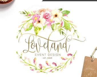 Affordable Customized Logo - photography floral logo - event logo - interior design logo - wreath watercolor - wedding monogram - BL190A