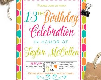 Birthday invitation -Fun Retro Birthday - 13th, 14th, 15th - 21st  or any Birthday - TK_A096