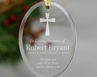 Personalized Empty Bench Memorial Tear Drop Glass Ornament