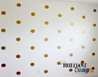 Peel and Stick Polka Dot, Metallic Gold, Wall Decals, Polka Dot Vinyl Decal, Polka Dot Decal, Polka Dot Sticker, Long Life, Apartment Safe